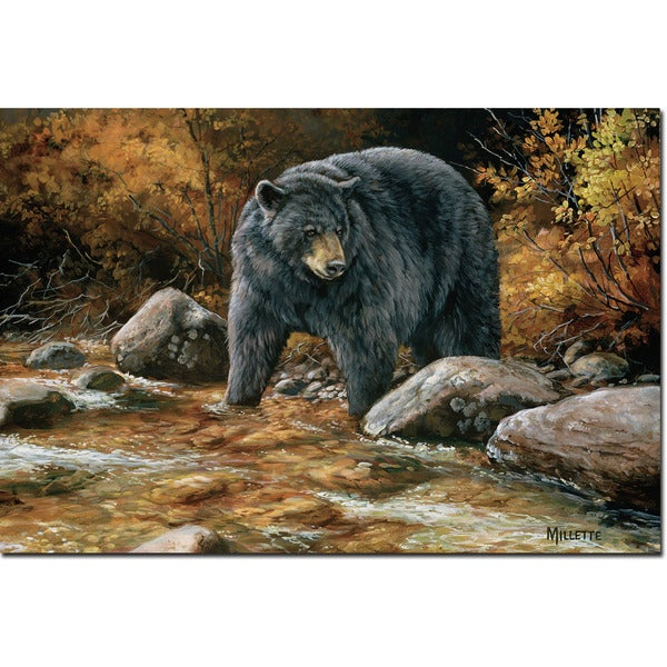 Shop WGI Gallery \'Streamside Bear\' Wall Art Printed on Wood - Free ...
