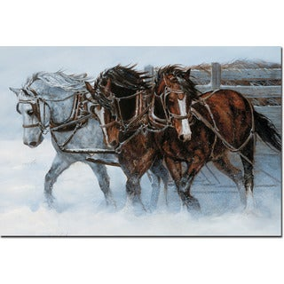 WGI Gallery 'Winter Wind Horses' Wall Art Printed on Wood