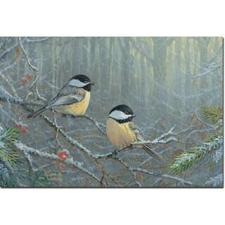 WGI Gallery 'Winter Breeze Chickadee' Wall Art Printed on Wood