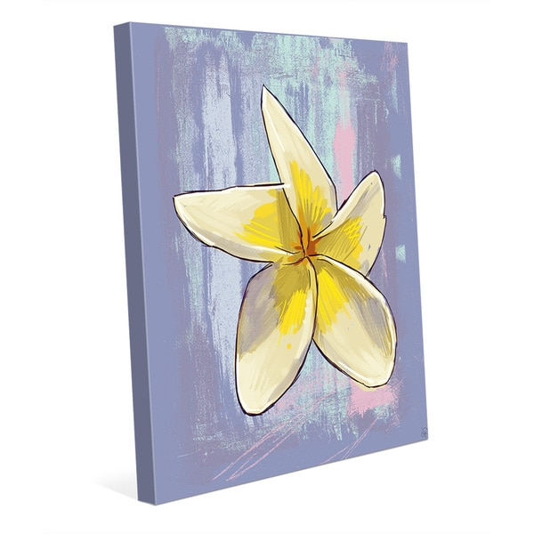 'Plumeria on Violet' Canvas Wall Art