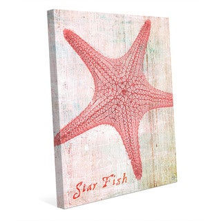 'Star Fish' Pink Stretched-canvas Wall Art