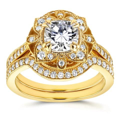 Annello by Kobelli 14k Yellow Gold Cushion Moissanite and 1/2ct TDW Diamond 2-Piece Floral Antique Bridal Set