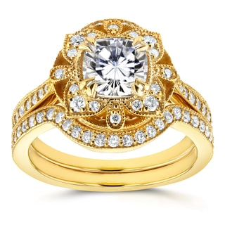 Annello by Kobelli 14k Yellow Gold Cushion Moissanite and 1/2ct TDW Diamond 2-Piece Floral Antique B