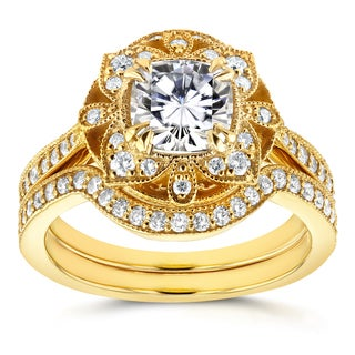 Annello 14k Yellow Gold Cushion Moissanite and 1/2ct TDW Diamond 2-Piece Floral Antique Bridal Set (G-H, I1-I2)