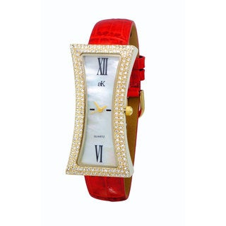Adee Kaye Ladies 'Curvacious' Red Crystal Watch