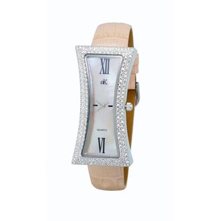 Adee Kaye Beverly Hills Women's Curvacious Pink Leather Crystal Watch