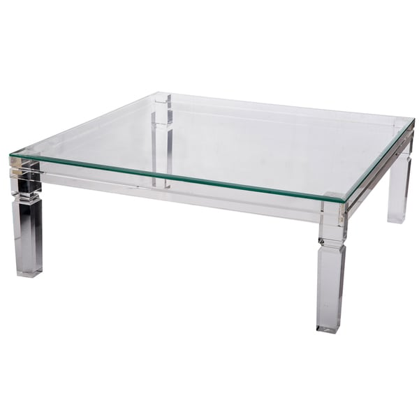 Beatrix acrylic and glass clear coffee table free for Overstock acrylic coffee table