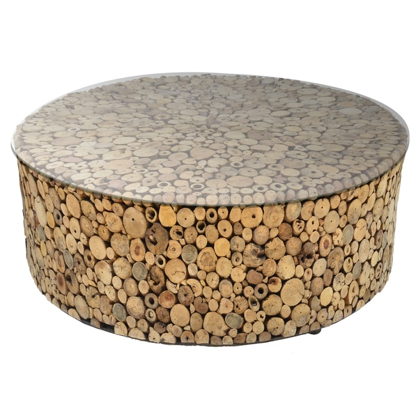 Driftwood Glass Round Coffee Table