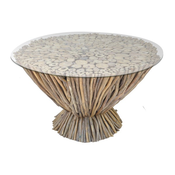 Shop Wood And Glass Round Coffee Table