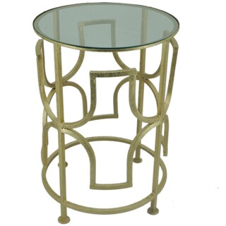 Set of 2 Halcyon Goldtone Round Side Tables