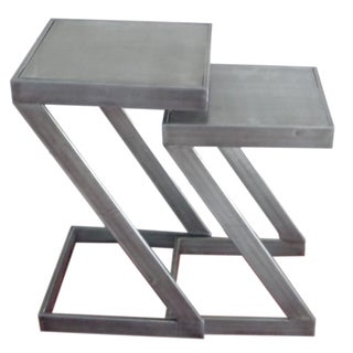 Grey Metal Nesting Tables (Set of 2)