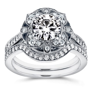 Annello 14k White Gold Round Moissanite and 1/2ct TDW Diamond 2-Piece Floral Antique Bridal Set (G-H, I1-I2)