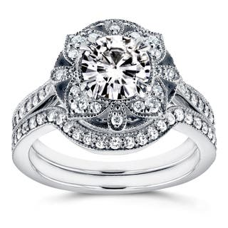 Annello by Kobelli 14k White Gold Round Moissanite (HI) and 1/2ct TDW Diamond 2-Piece Floral Antique Brid https://ak1.ostkcdn.com/images/products/12715402/P19496291.jpg?impolicy=medium