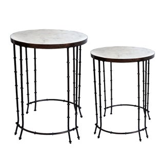 Fenna Marble Topped Side Table (Set of 2)