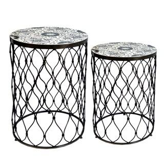 Fenna Decorative Round Antique Brass Side Tables (Set of 2)