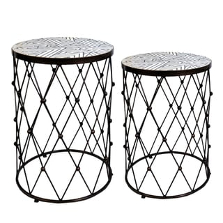 Fenna Geometric Copper Wire Frame Side Tables (Set of 2)