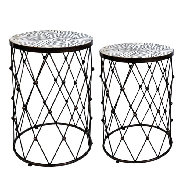 Fenna Geometric Copper Wire Frame Side Tables Set Of 2 Free Shipping Today 12715415