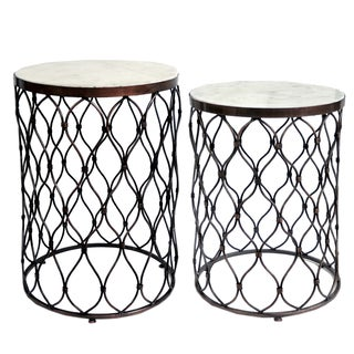 Fenna Marble Topped Wire Side Tables (Set of 2)