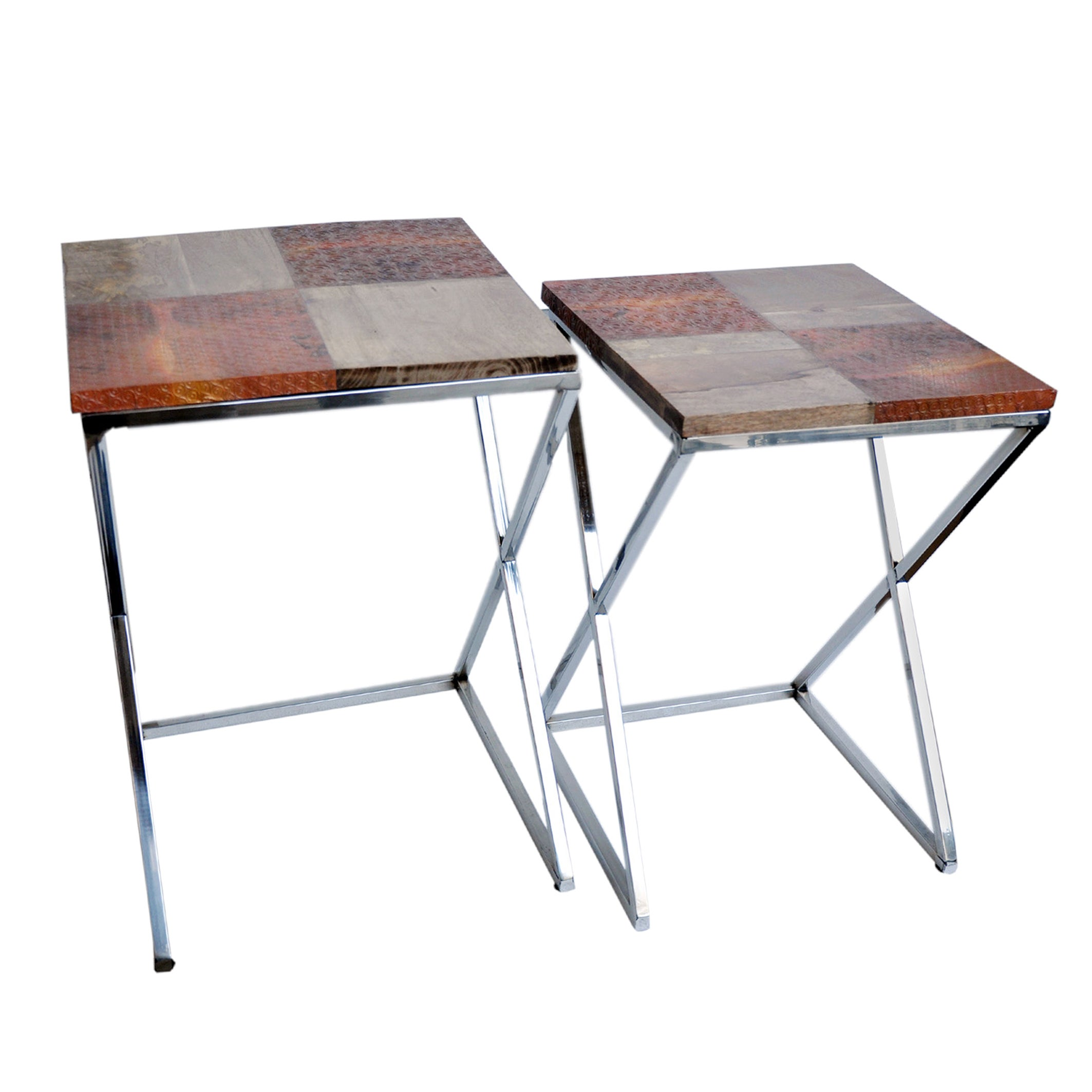 Wood and Steel Cross Base Side Tables (Set of 2) (Metal A...