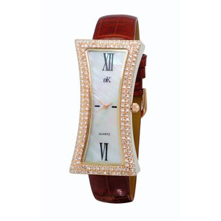 Adee Kaye Beverly Hills Women's Curvacious Leather Band Brass Finish Stainless Steel Crystal Quartz Watch