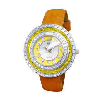 Adee Kaye Womens' Facet Channel Crystal Watch (Option: White)