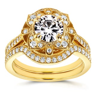 Annello 14k Yellow Gold Round Moissanite and 1/2ct TDW Diamond 2-Piece Floral Antique Bridal Set (G-H, I1-I2)