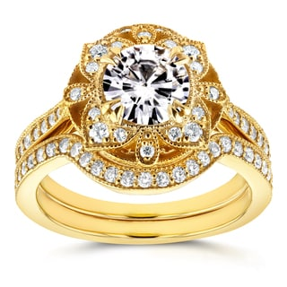 Annello By Kobelli 14k Yellow Gold Round Moissanite And 1 2ct TDW Diamond 2 Piece Floral Antique Bridal Ring Set 2pc0