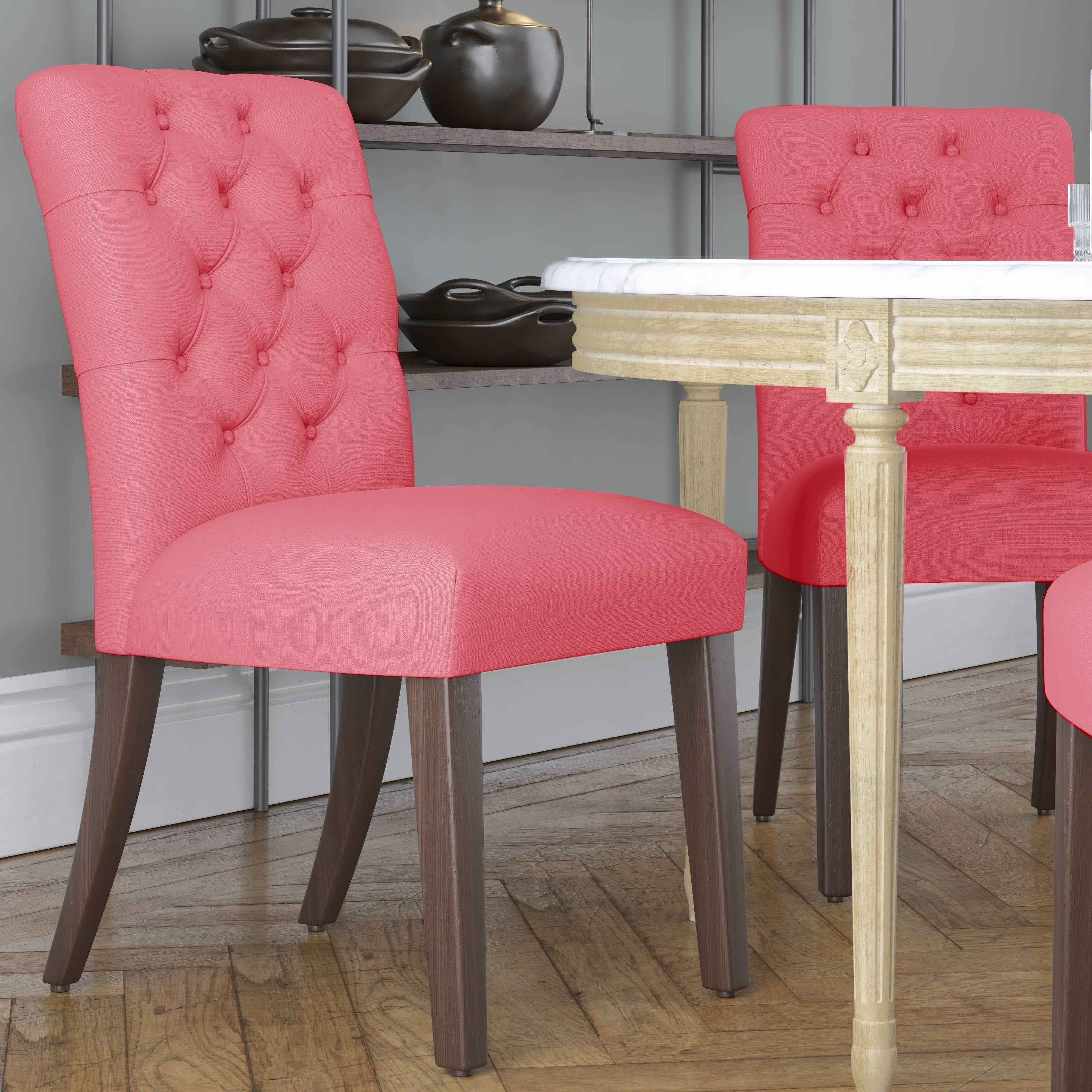 Skyline Furniture Tufted Dining Chair In Linen Coral