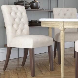 Skyline Furniture Linen Talc Tufted Mor Dining Chair