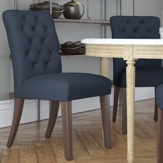 Skyline Furniture Linen Navy Tufted Mor Dining Chair