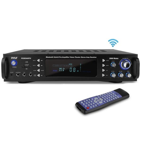 Headphone Multi Channel Bluetooth Preamplifier Receiver Pyle P3201BT Dual Microphone w// Echo USB AUX Wireless Streaming 3000 Watt Audio Home Speaker Sound Stereo Receiver w// Radio RCA LED