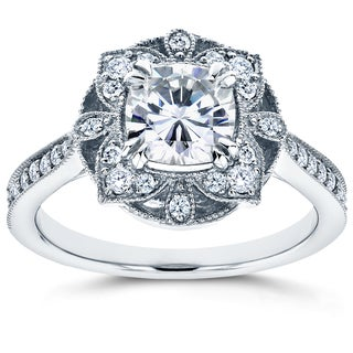 Annello 14k White Gold Cushion Forever One Moissanite and 1/4ct TDW Diamond Floral Antique Engagement Ring (G-H, I1-I2)