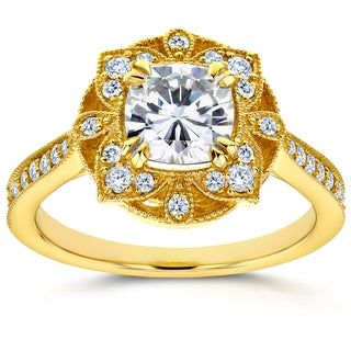 Annello 14k Yellow Gold Cushion Forever One Moissanite and 1/4ct TDW Diamond Floral Antique Engagement Ring (G-H, I1-I2)