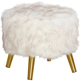 Skyline Furniture Br Fox White Round Ottoman with Brass Splayed Legs