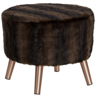 Skyline Furniture Br Sable Brown Round Ottoman with Copper Splayed Legs