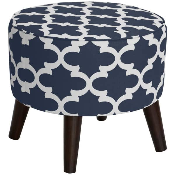 Miraculous Skyline Furniture Fynn Blue Round Ottoman With Splayed Legs Gmtry Best Dining Table And Chair Ideas Images Gmtryco