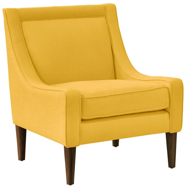 Skyline Furniture Linen Yellow Mid Century Swoop Arm Chair