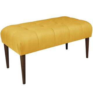 Skyline Furniture Skyline Linen French Yellow Tufted Bench with Cone Legs