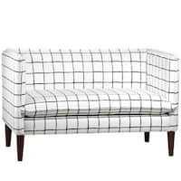 Skyline Furniture Painted Check Ink French Seam Settee