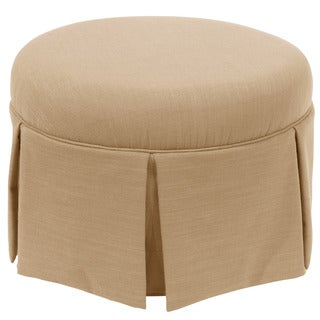 Skyline Furniture Skyline Linen Sandstone Round Skirted Ottoman
