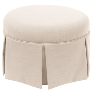 Skyline Furniture Skyline Linen Talc Round Skirted Ottoman