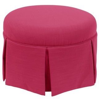 Skyline Furniture Skyline Linen Fuchsia Round Skirted Ottoman