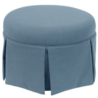 Skyline Furniture Skyline Linen Denim Round Skirted Ottoman