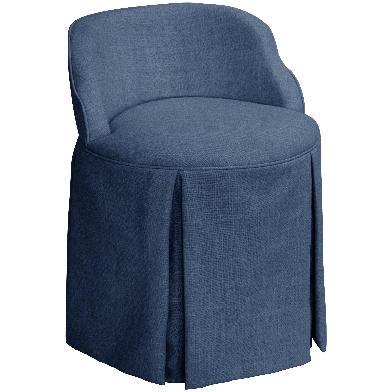 Skyline Skyline Linen Navy Vanity Chair (Navy), Blue (Fab...