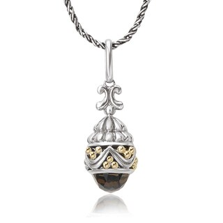 Avanti Sterling Silver and 18K Yellow Gold 4.95 Ct TGW Faceted Smoky Quartz Drop Pendant Necklace