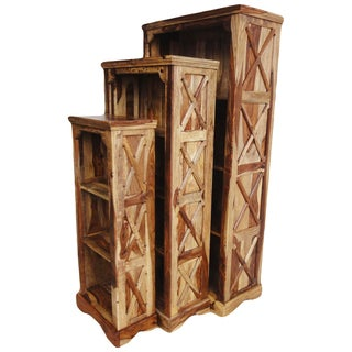 Set of 3 Porter Taos Sustainable Solid Sheesham Wooden Bookcases