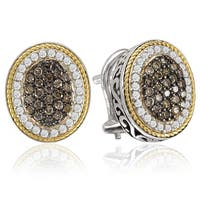 Avanti Sterling Silver and 18K Yellow Gold 3/4 Ct TDW Black and White Oval Shape Button Omega Clip Earrings