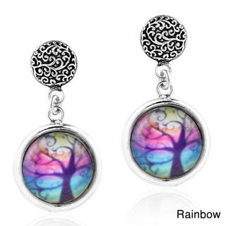 Tree of Life Enamel Circle .925 Silver Post Drop Earrings (Thailand)