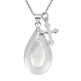 Purity Cross Dangle Teardrop Shell Sterling Silver Necklace (Thailand)