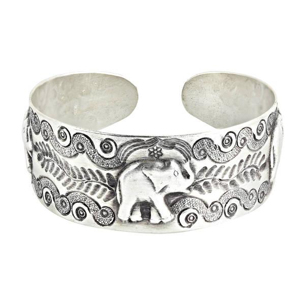 Handmade RainForest Triple Elephant Hill tribe Sterling Silver Cuff Bracelet (Thailand)